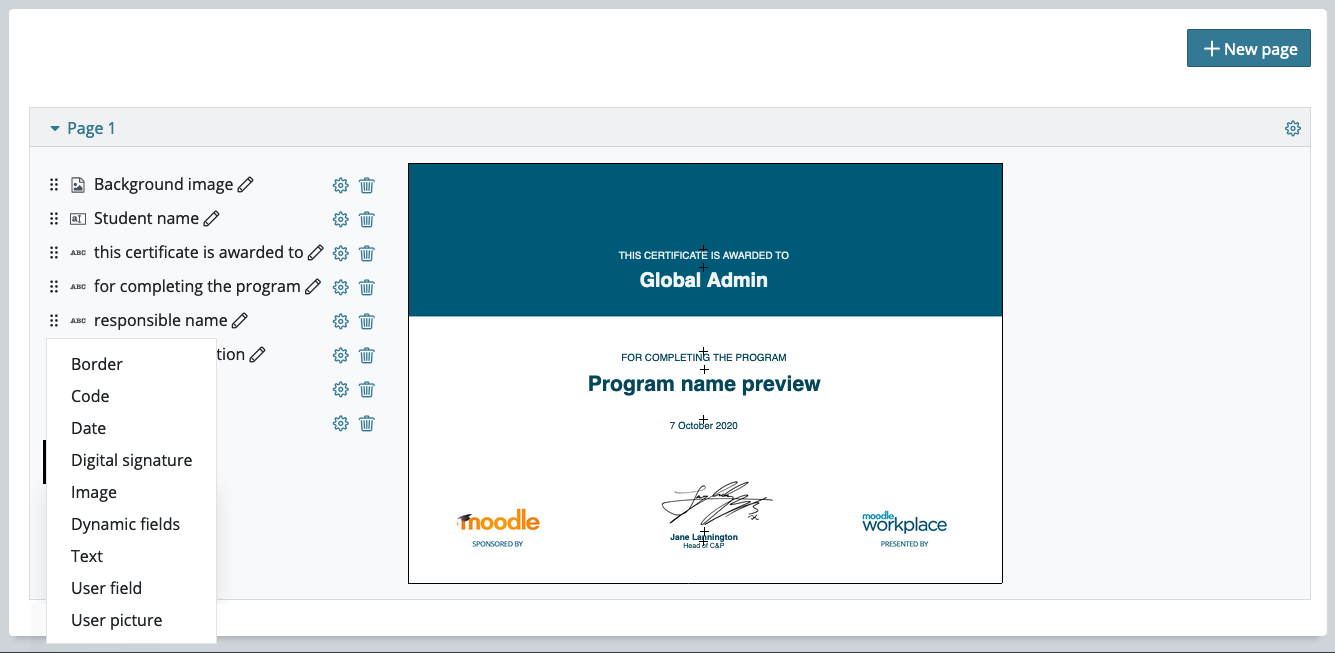 Moodle Certificate plugins released by the Moodle Workplace team