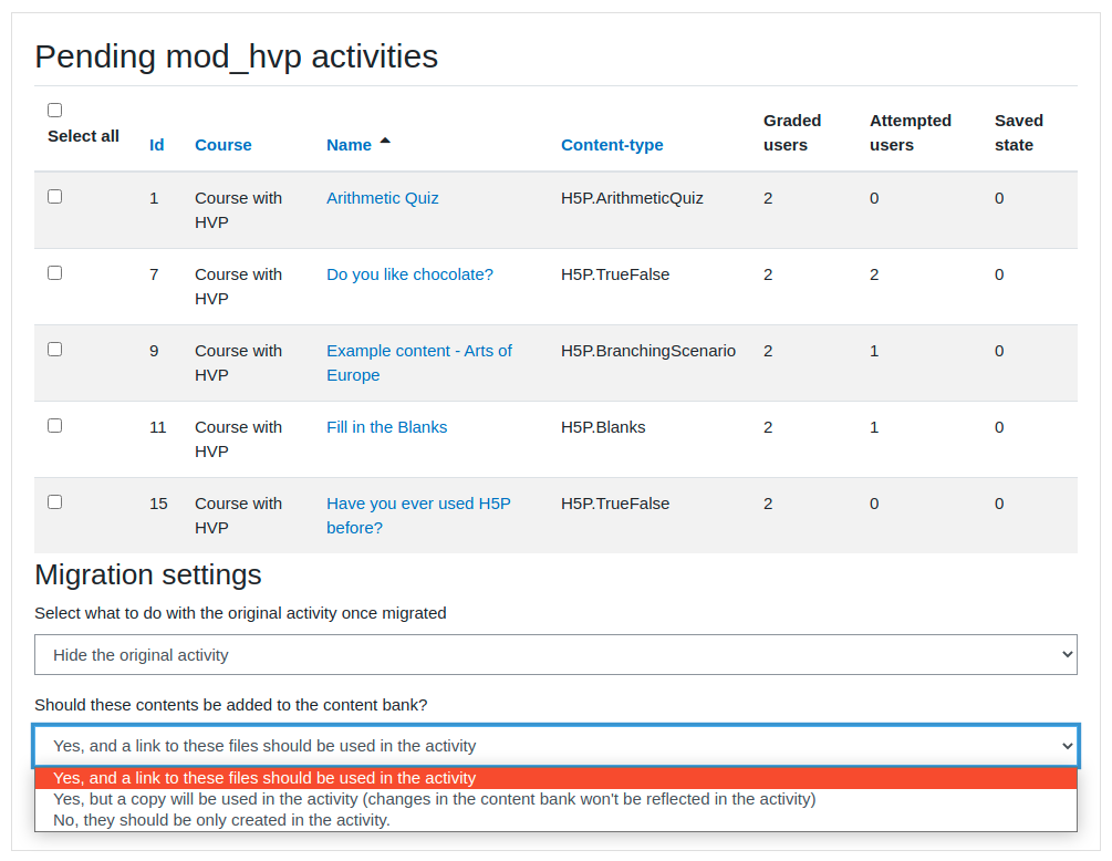H5P migration tool user interface
